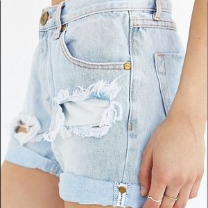 One Teaspoon distressed high rise button fly short